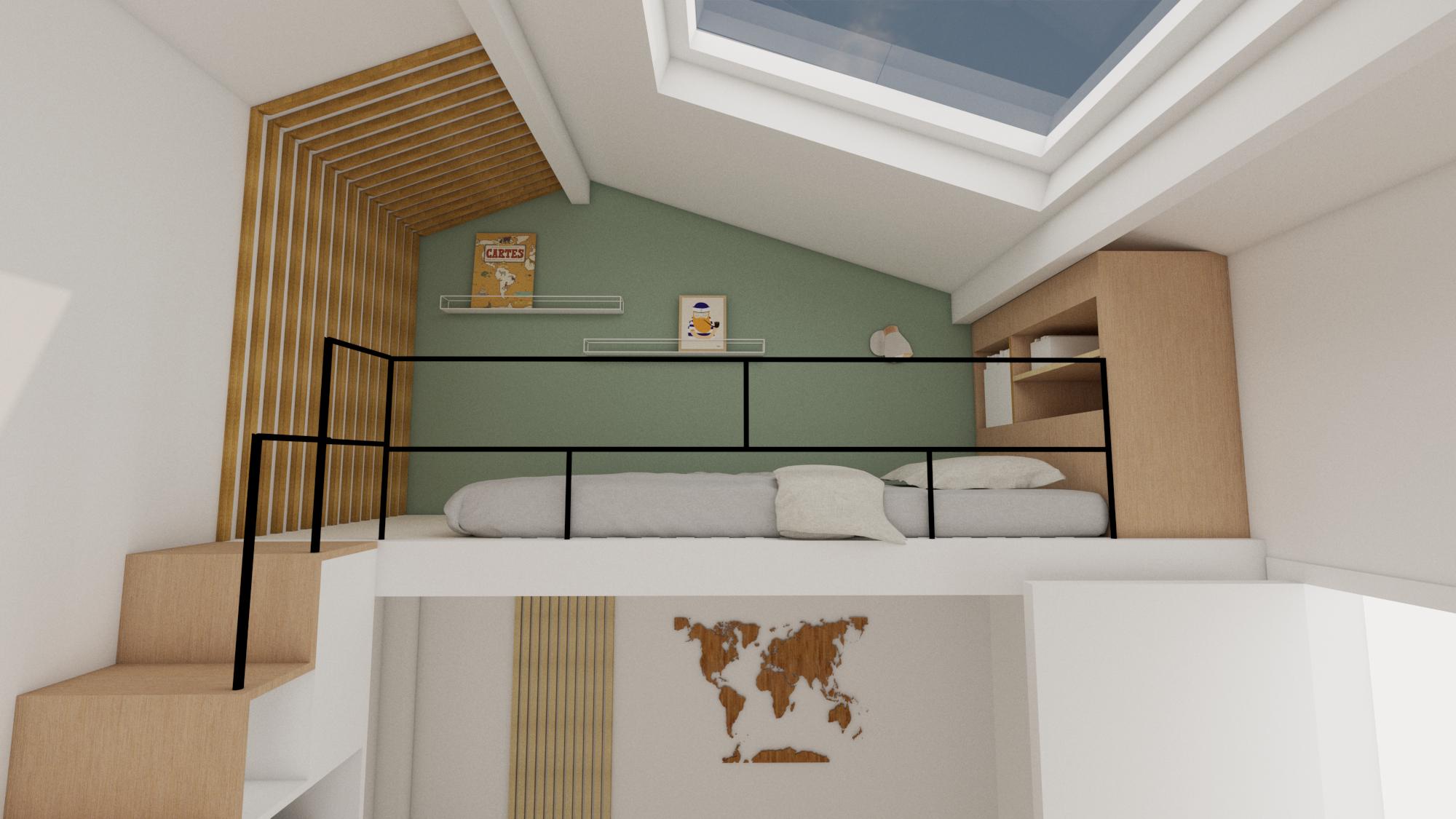 Lit mezzanine chambre d'enfant